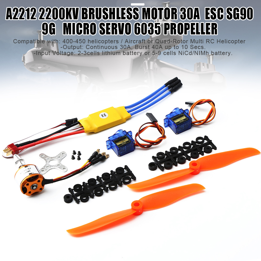 A2212 2200KV Brushless Motor 30A ESC SG90 9G Micro Servo <font><b>6035</b></font> <font><b>Propellers</b></font> for RC Fixed Wing Plane Helicopter NSV775 image