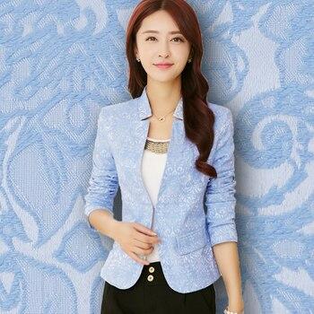 Spring New Small Suit Coat Women Korean Slim Temperament Long Sleeve V-neck Office Lady Womans Blazer Blue White Black 1