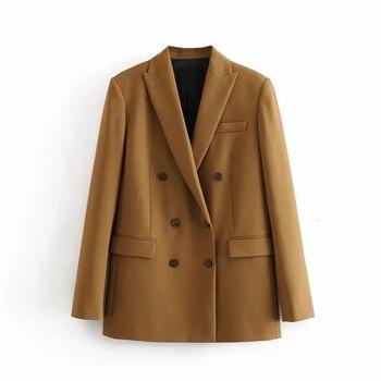 2020 Winter Women Double Breasted Blazer Coat  Office Lady Slim Elegant Jackets