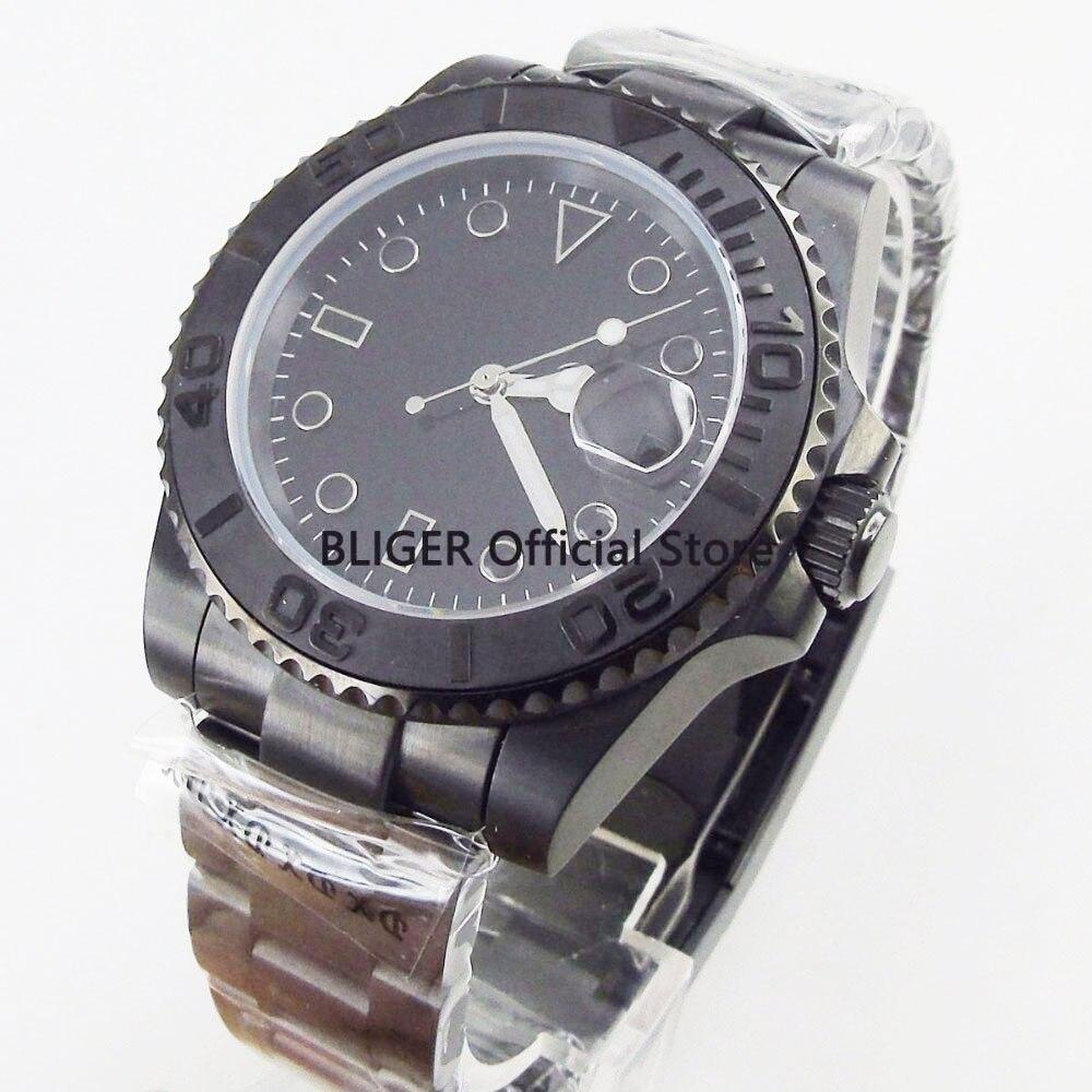 Klassische BLIGER 40mm Schwarz Sterile Zifferblatt Edelstahl PVD Beschichtet Fall Sapphire Leucht Miyota Automatische Bewegung herren Uhr-in Mechanische Uhren aus Uhren bei  Gruppe 3