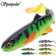 Spinpoler 3-jointed Soft Plastic Bait Swimming Paddle Tail Swimbait 16cm 22cm Pike Bass Muskie Big T Tail Soft Lures 1pcs