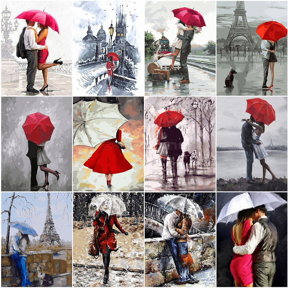 EverShine Oil Painting By Numbers Couple DIY Hand Painted Wall Art Red Umbrella Pictures By Numbers Home Decor