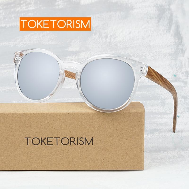 ტოკიტორიზმი ელეგანტური ხის სათვალე მამაკაცები polarized uv400 ქალის მრგვალი სარკის სათვალეები 7051