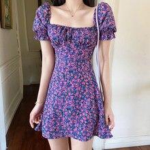 Fioletowy w kwiaty Sukienka bufiaste rękawy Sexy Mini letnia plaża Vestidos Mujer Boho koreańska Retro śliczna linia Vestido Corto Sukienka