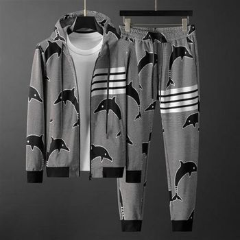 Sports Suit Men's Autumn and Winter New Fashion Dolphin Jacquard Hooded Sweater Cardigan Two-Piece Men's Clothing baby boys and girls cardigan sweater 2 11years autumn and winter cartoon jacquard koala bear knitting outwear unisex clothing