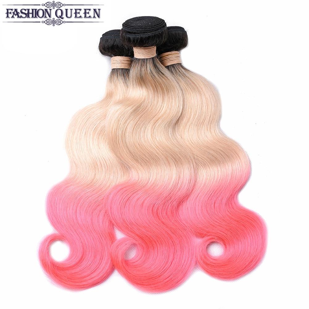 Body Wave Hair Bundles Brazilian Hair Weave Bundles 100% Human Hair Bundles TB/613/Pink Color Non-remy Hair Weave Fashion Queen