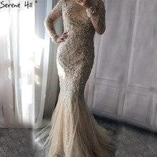 Luxo pêssego brilhando vestido de noite sereia pérolas miçangas tule formal vestido de noite 2020 la6420