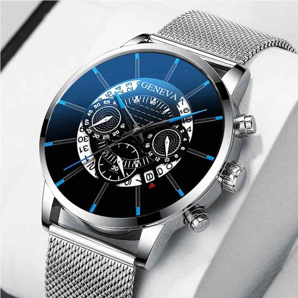 Mewah Pria Fashion Bisnis Jam Tangan Kalender Biru Stainless Steel Mesh Belt Analog QUARTZ Watch Relogio Masculino 1223