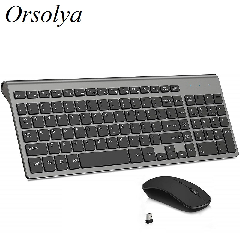 2.4G Wireless Keyboard And Mouse Combo Orsolya Compact Full-size Thin Keyboard And 2400dpi Optical Mouse Set Low Noise Key,Gray