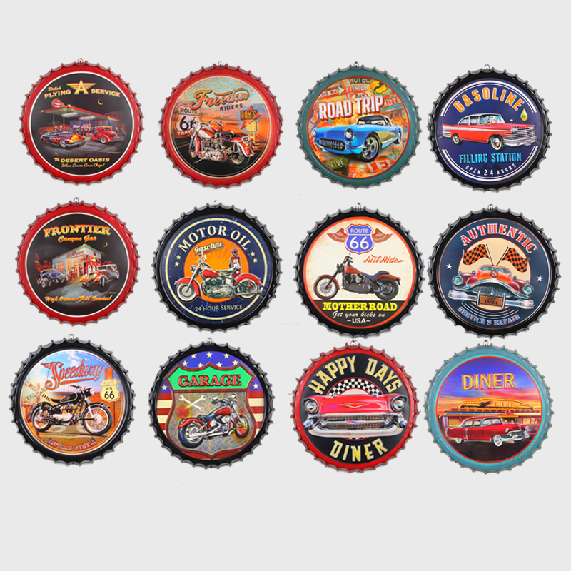 Route 66 Motor Oil Beer Cap Sign Hanging Crafts Vintage Metal Tin Sign Motorcycle Garage Bar Cafe Wall Decor Round Plate Plaques