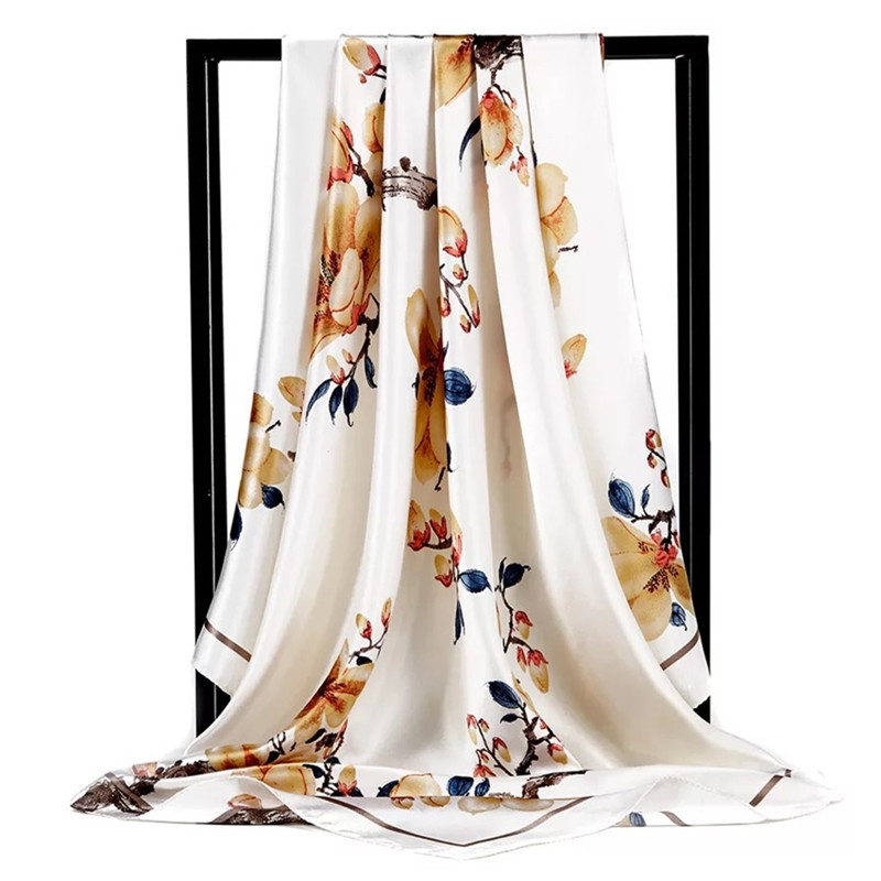 2019 <font><b>90</b></font><font><b>*</b></font>90cm Summer Women <font><b>Silk</b></font> Foulard <font><b>Scarves</b></font> Square <font><b>Scarf</b></font> Ladies Luxury Brand beach Shawl Bandanna Large Hijab muffler female image