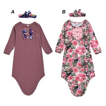 Осенний комбинезон для маленьких мальчиков и девочек, одежда для сна с длинными рукавами, хлопковые комбинезоны для новорожденных, комбинезон, повязка на голову, костюмы, комплект