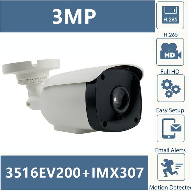 Sony IMX307 + 3516EV200 IP Macchina Fotografica Della Pallottola Esterna 3MP 2304*1296 H.265 A Bassa illuminazione A Infrarossi CMS XMEYE ONVIF P2P RTSP