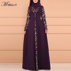 Image 1 - MISSJOY Musulmano Abaya Stampa Floreale Split Elegante Donne Abito Da Dubai casual Caftano Turco Vintage Kimono Abbigliamento Islamico Платье