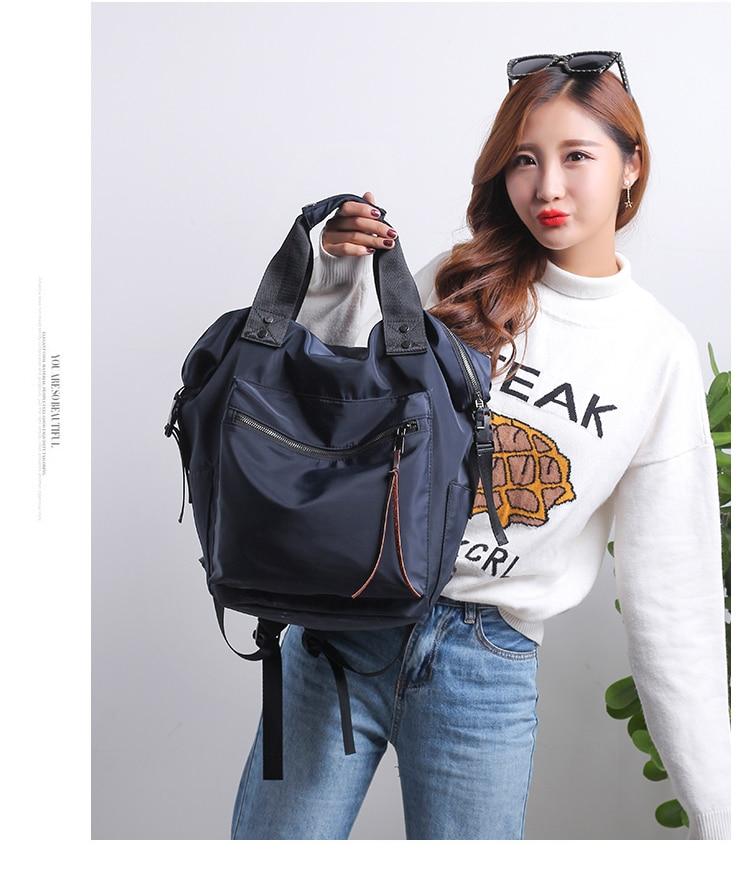 H473d9b2b186146929e05bc1195bb3b24N Casual Nylon Waterproof Backpack Women High Capacity Travel Book Bags for Teenage Girls Students Pink Satchel Mochila Bolsa 2019