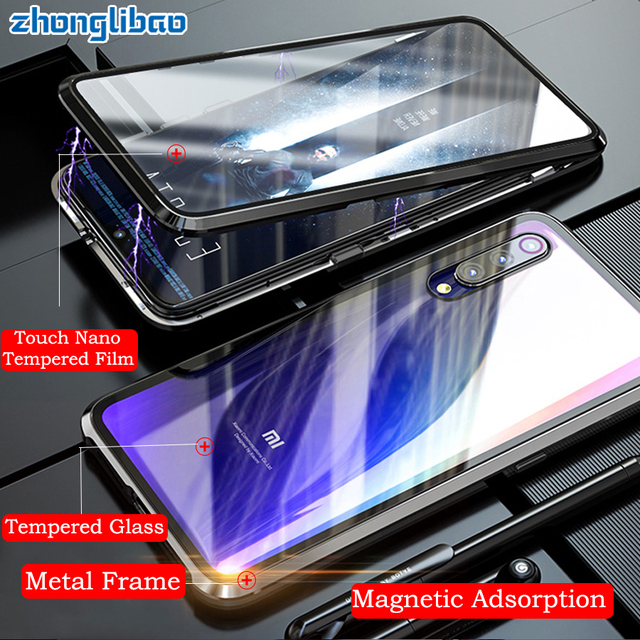 Funda magnética de Metal de lujo para Xiaomi, funda completa de cristal doble frontal y trasera para Xiaomi Mi 9t 9 Se Cc9 Cc9e Mi9 Pro Redmi K20 Note 8 7 Pro