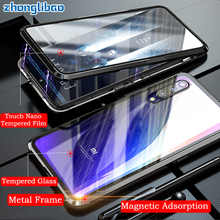Magnetica di lusso Cassa Del Metallo per Xiaomi Mi 9t 9 Se Cc9 Cc9e Mi9 Pro Redmi K20 Nota 8 7 pro Fronte Retro Doppio Vetro 360 Copertura Completa