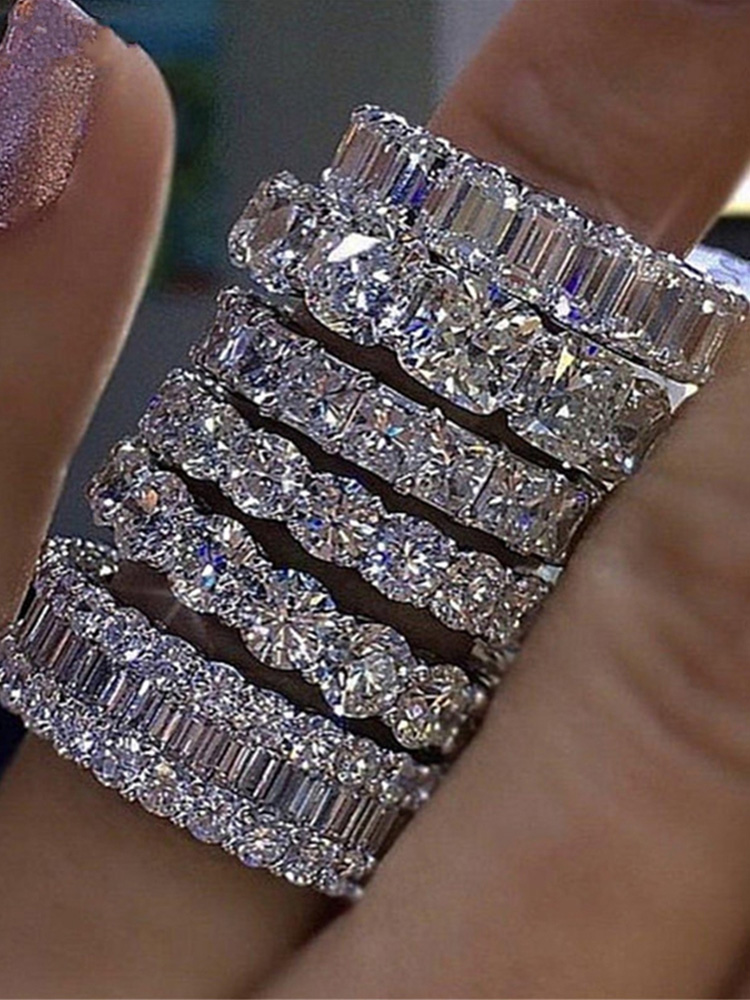luxury 925 sterling silver wedding band eternity ring for women big gift for ladies love