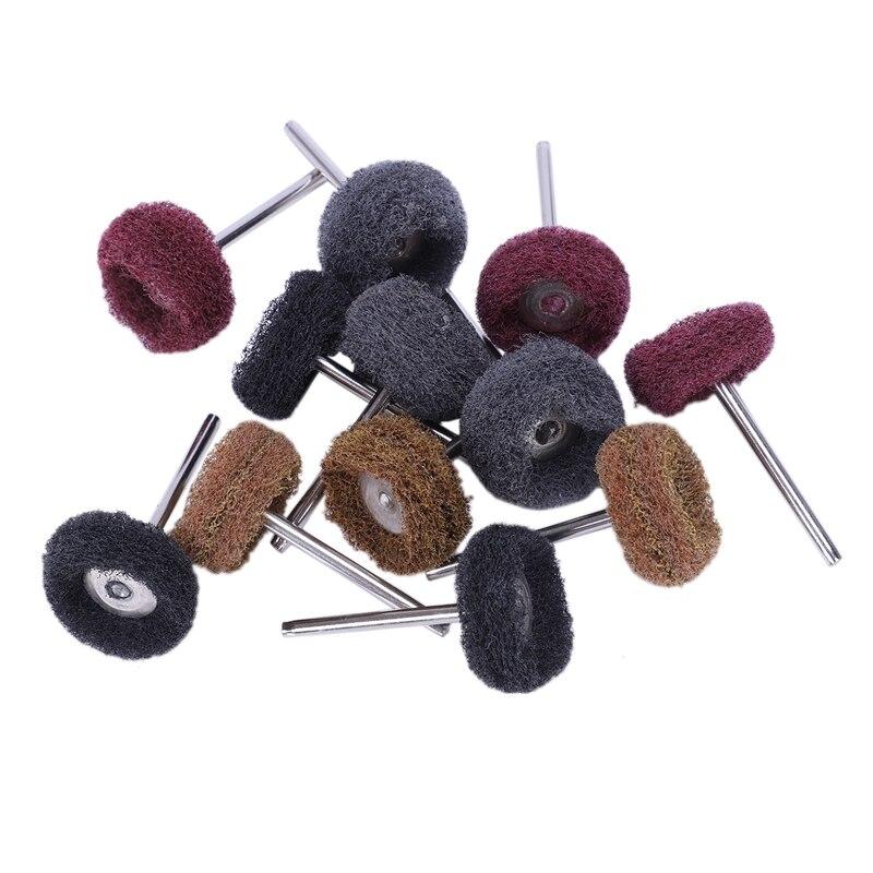 12 Pcs Polishing Sanding Polish Wheel Buffer Abrasive Brush Head For Dremel Rotary