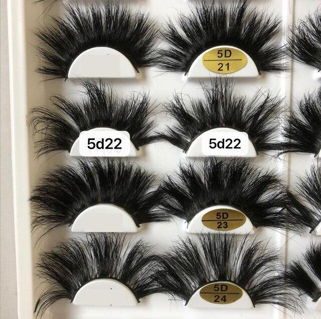 25mm cils en gros 100% vison cheveux entrecroisé épais naturel 3d cils à la main vison cils maquillage faux cils