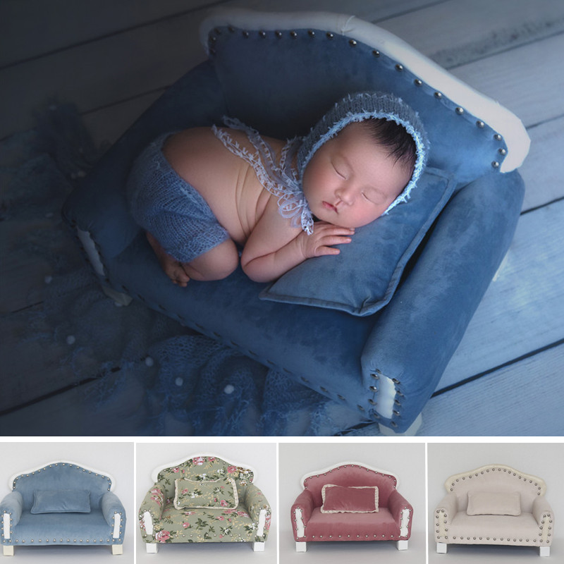 Newborn Photograph Props Boy Soft Velvet Fabric Printing Sofa Baby Photo Shoot Baby Prop Chair Newborn Fotografia Accessories