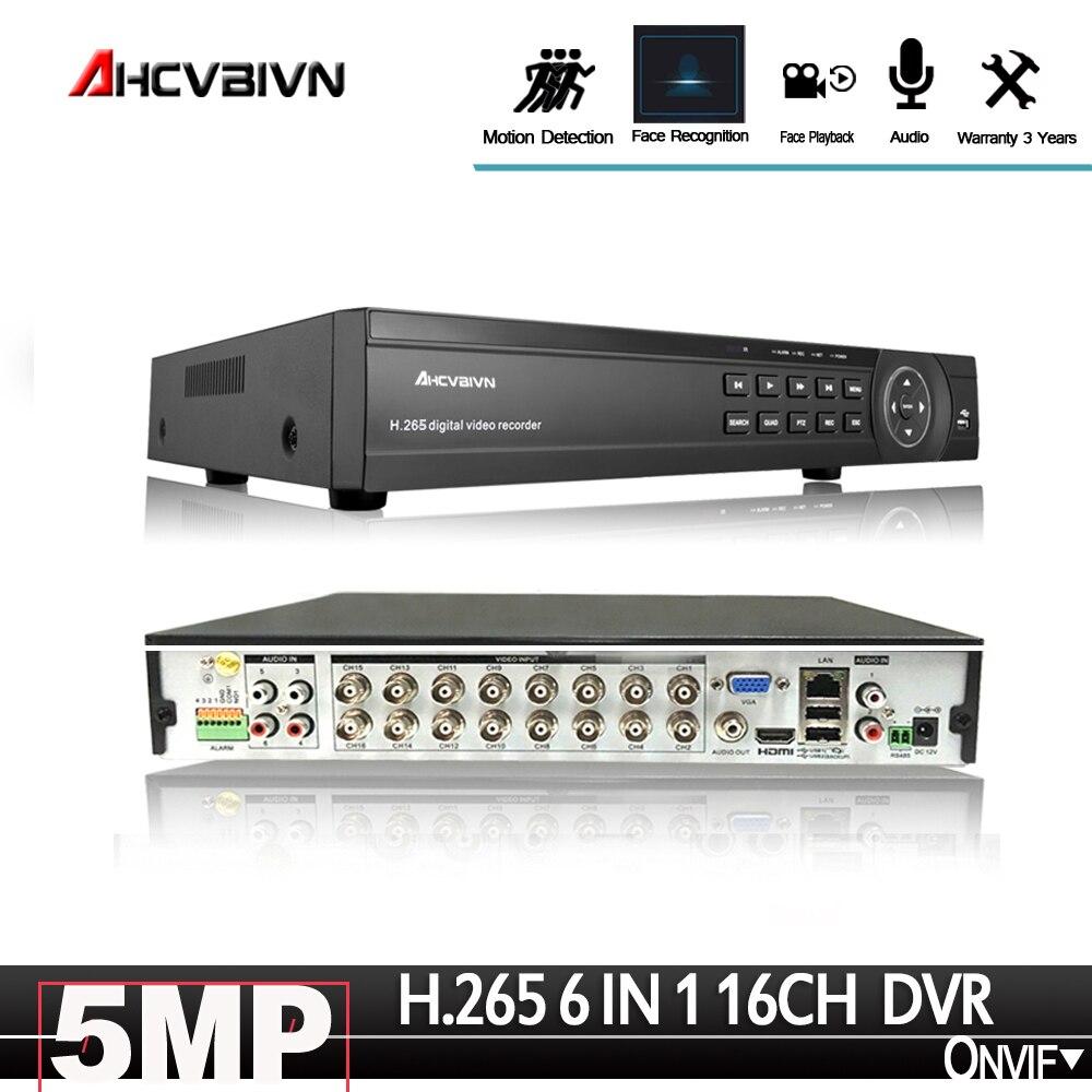 Gesicht-Anerkennung 16CH CCTV DVR Sicherheit System 5.0MP H.265 HD-Ausgang P2P Hybrid 6 in 1 Onvif IP kamera XVI AHD Video Recorder