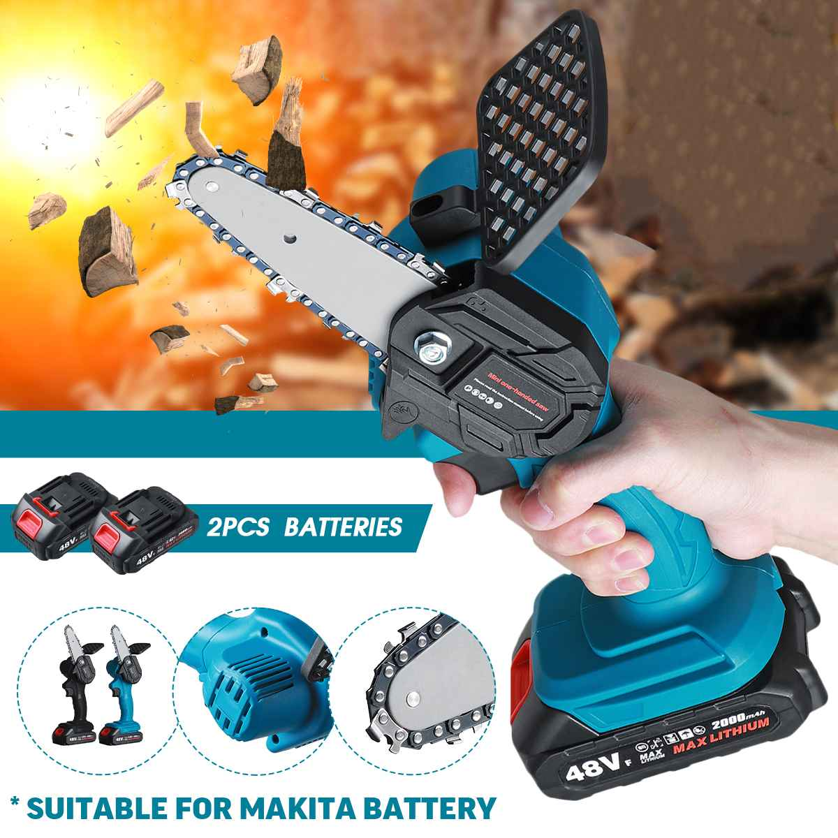 Electric Chain Saw Portable Mini Electric Pruning Saw Rechargeable Woodworking Cutter Tool Garden Logging wit 21V Makita Battery