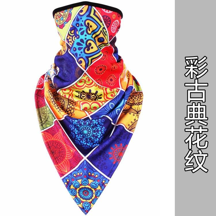 Новое ледяное шелковое треугольное полотенце крутой дышащий платок на голову воротник Мужская и женская маска от Солнца маска ошейник - Цвет: Classical pattern