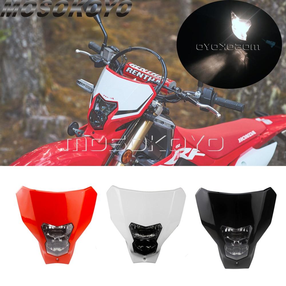 Supermoto Dirt Bike Headlight 12V Bulb Lighting Front Headlamp For Honda CRF450XR CRF450L CRF450 CRF250 R L X  2019-2020