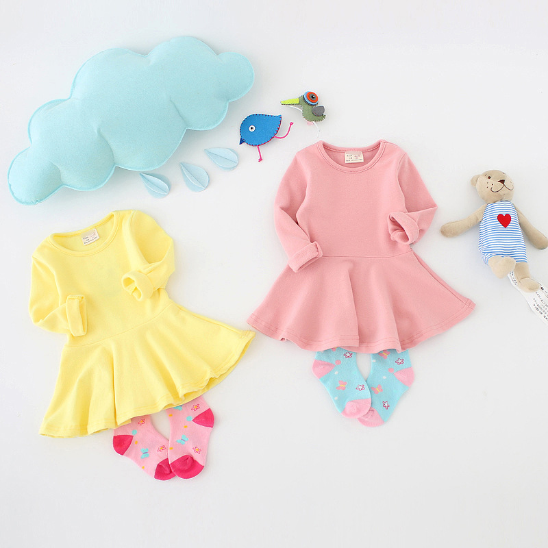 86 Infant Toddler Baby Girls Dress Pink Ruffle Long Sleeves Cotton 12-18m .