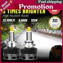 Bullvision Led D1s D2s D3s D4s D2h Headlight 22000lm 120w 360 Degree Csp Led H1 H7 H11 H8 H9 9005 9006 Hb3 Hb4 Canbus Error Free