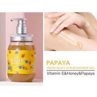 Whole Sale AILKE Strawberry+Rose+Papaya+sakura Fruit Lightening Body Wash Private label Skin Whitening Bath Shower Gel 500ml 4