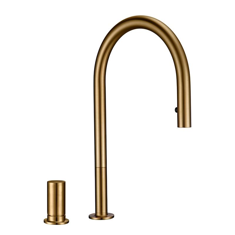 Modern Kitchen Faucet Brsuh Matt Brass Material Kitchen Sink Faucet Kitchen Product Kitchen Sink Mixer Tap