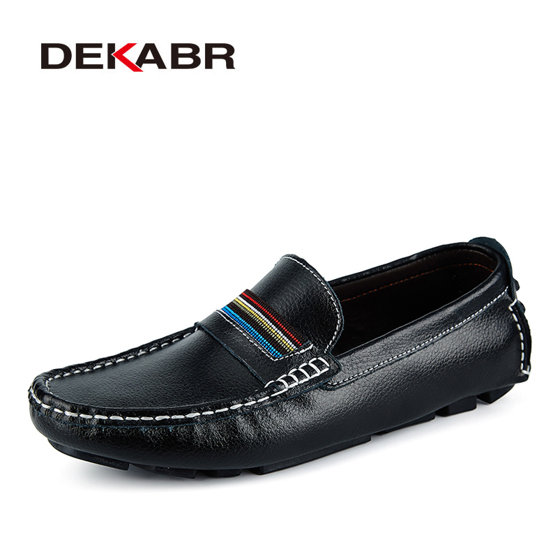 DEKABR Fashion Men Shoes Genuine Leather Casual Soft Comfortable Loafers Male Moccasins Breathable Non Slip Driving Footwear