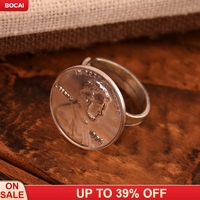 925 Silver Ring lady Korean fashion European style retro coin finger ring Silve