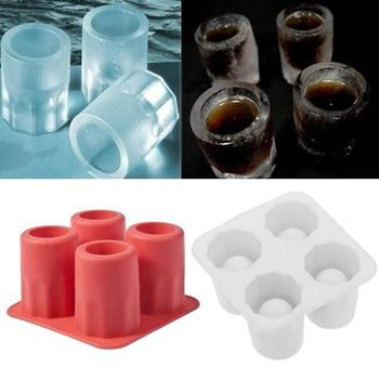 1Pc 4 Cell Cup Shape Silicone Ice Cube Mold Glass Ice Mould Ice Cube Tray Summer Bar Party Beer Ice Drinking Tool Ice Shot Glass