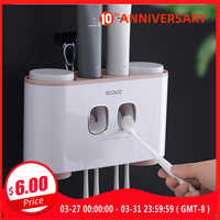 Ecoco ToothBrush Holder Wall Mount Toothpaste Squeezer Bathroom Accessories Set ToothBrush Toothpaste Storage Rack For Home