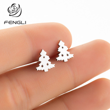 FENGLI Pine Tree Stainless Steel Earring For Kids Girls Christmas Romantic Lovely Stud Earrings Friend Best Gifts