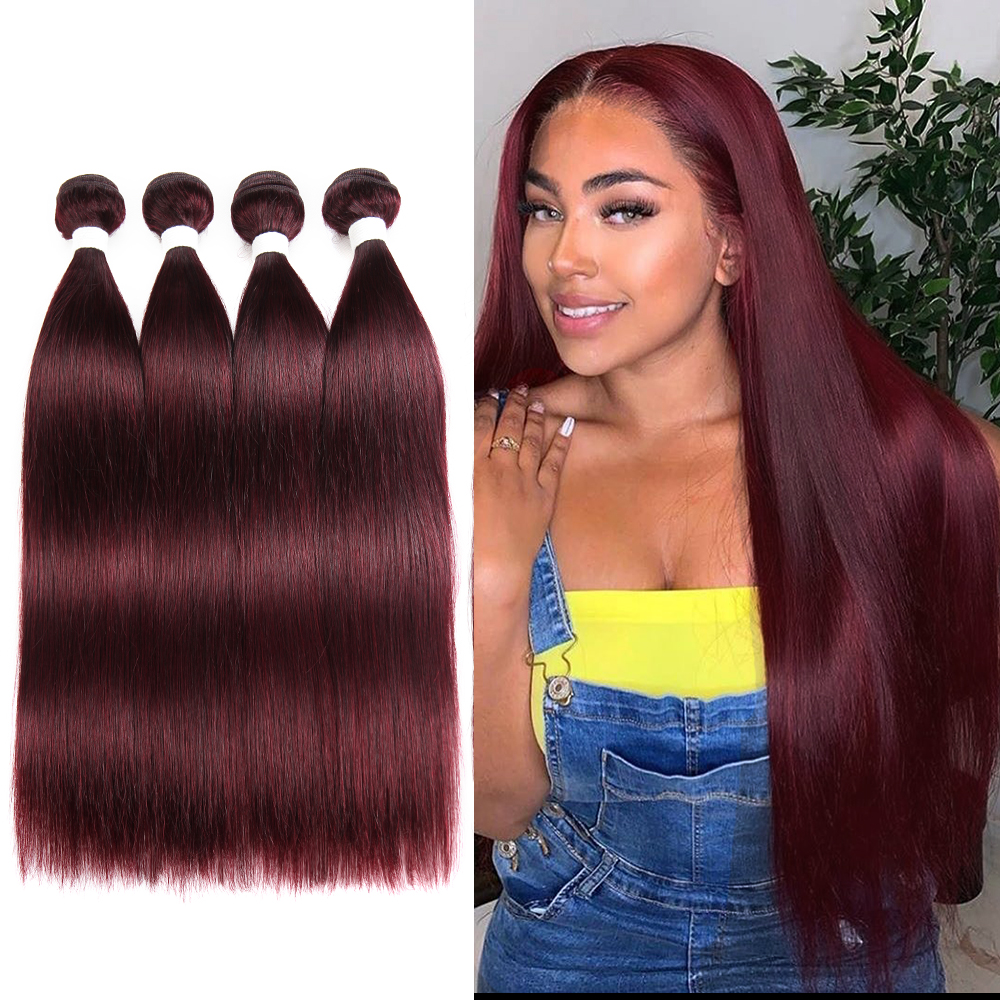 Image 5 - 99J/Burgundy Brazilian Straight Human Hair Weaves Bundle KEMY HAIR 8 to 26 Inch Hair Weaving 1 PC Non Remy Hair Extensions-in Hair Weaves from Hair Extensions & Wigs