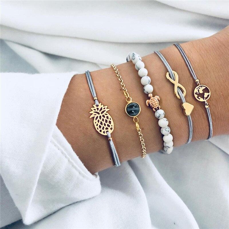 Женские браслеты в стиле бохо, круглые браслеты из сплава с кристаллами, 30 стилей, наборы браслетов с сердечками и картой ананаса, ювелирные ...