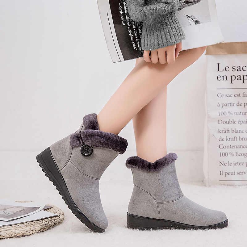 Fujin kış yeni sıcak tutmak kadın kar botları düğme süet 43 boyutu düşük topuk rahat ayakkabılar kar botları kadın pamuk moda ayakkabılar