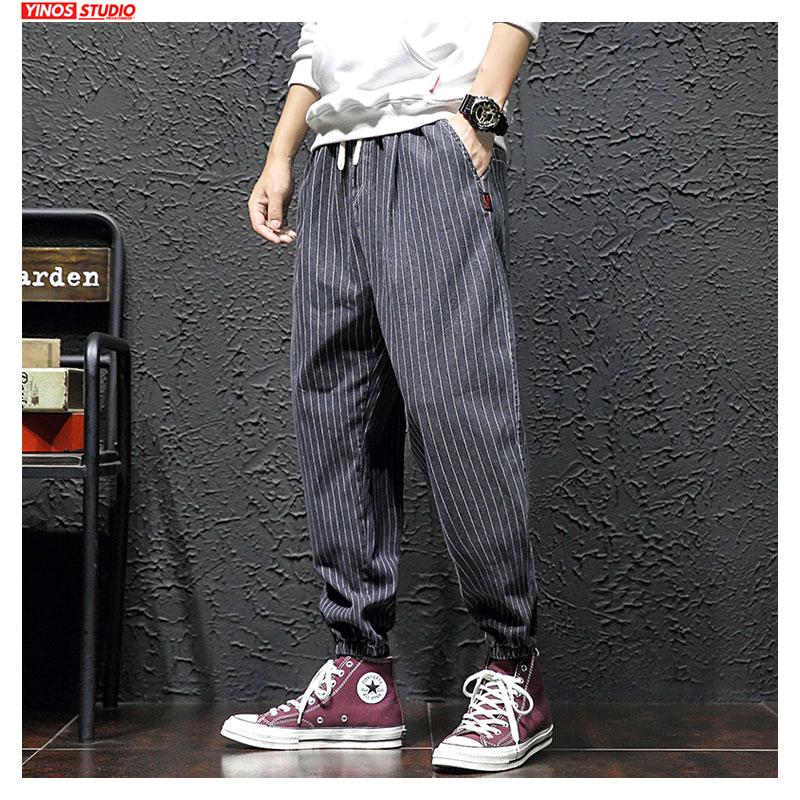 Dropshipping Japanese Streetwear Men'S Striped Harem Trousers 2020 Autumn Man Cargo Pants Black Casual Baggy Pants Plus Size