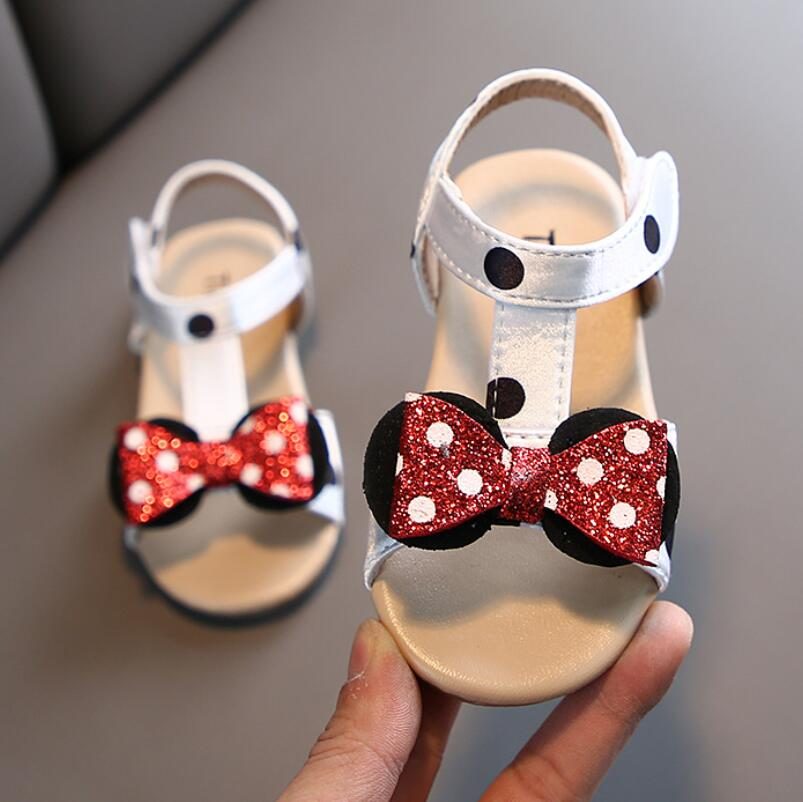 Summer Sandals Children Girls Shoes Infant Kids Sandal Baby Girls Minnie Bow Princess Rubber Sandals Shoes