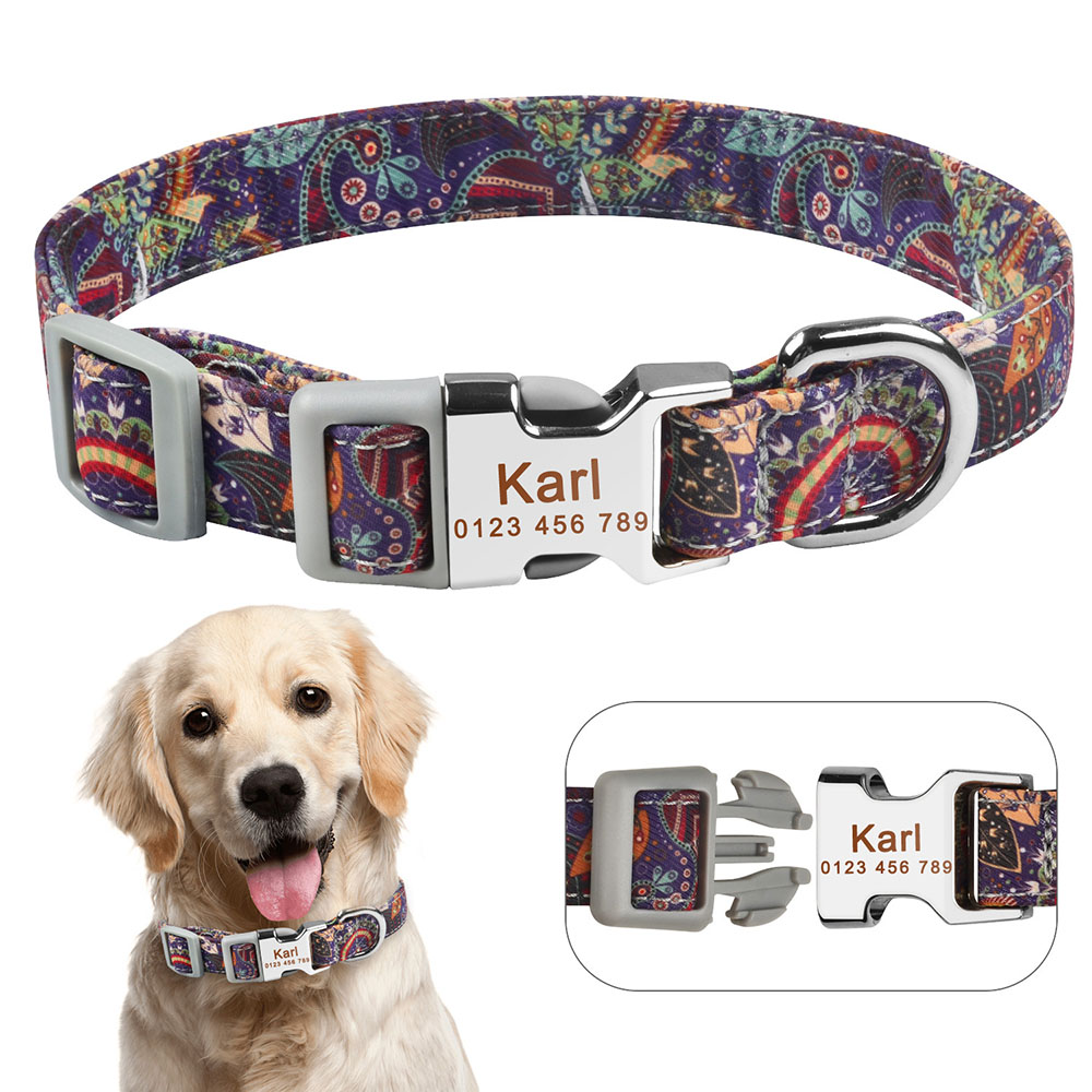 AiruiDog Personalised Dog Collar Custom Engraved Name ID Tag for Male Female Dogs S M L image