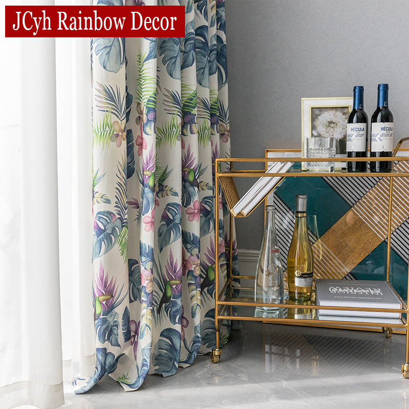 Colorful Rainforest Blackout Curtains For Bedroom Drapes For Window Living Room Curtains Pastoral Leaves Fancy Blind Curtain Leather Bag