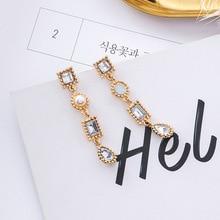 MENGJIQIAO Vintage Square Drop Crystal Long Dangle Earrings Statement Fashion Jewelry Temperament Asymmetry Earrings 2018