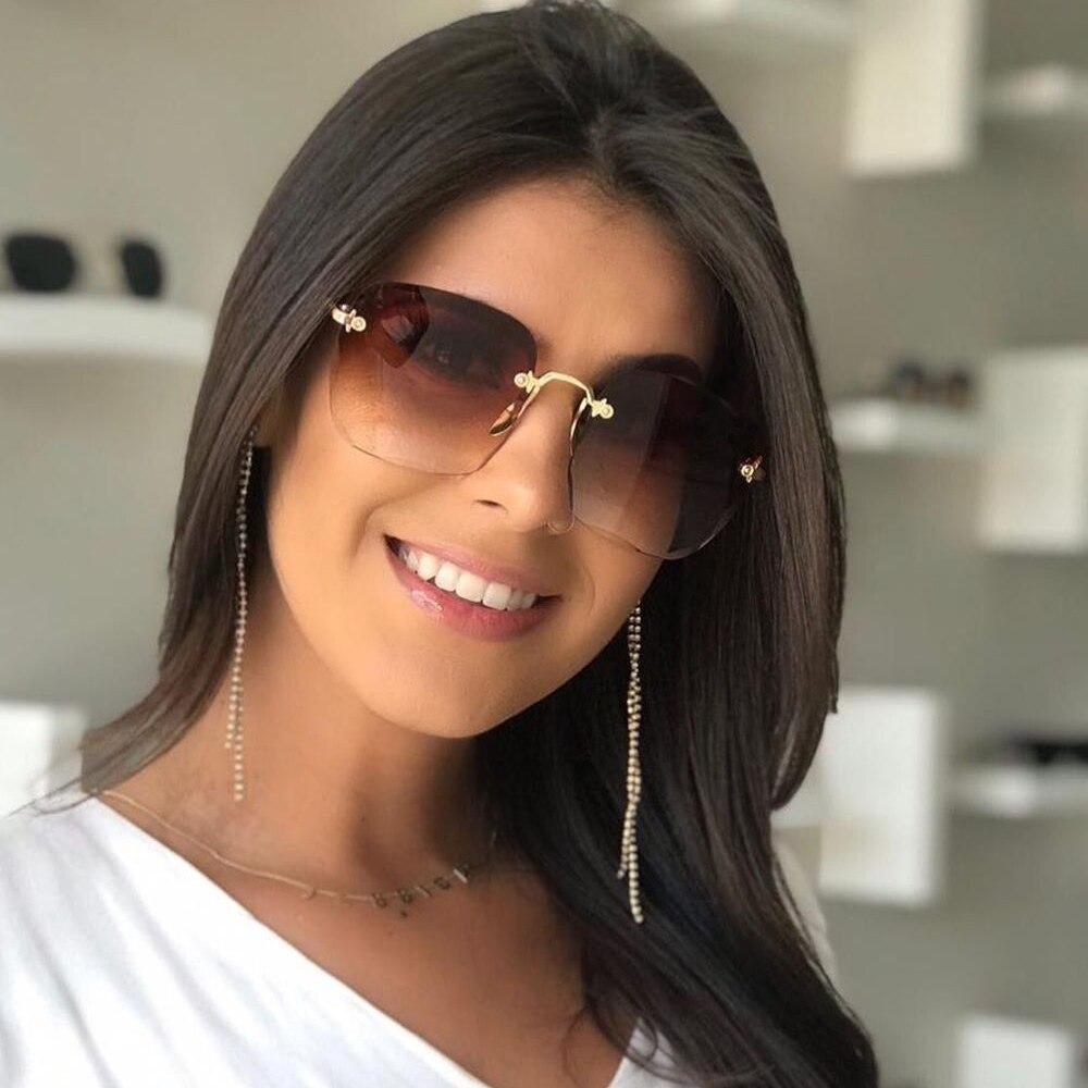Новые модные брендовые дизайнерские солнцезащитные очки с квадратными линзами с меньше для женщин с модным металлическим без оправы гради...