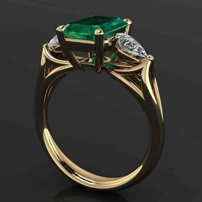 14k Gioielli In Oro Verde Smeraldo Anello per le Donne Bague Diamant Bizuteria Anelli De Puro Smeraldo Della Pietra Preziosa 14k Oro anello per le Femmine
