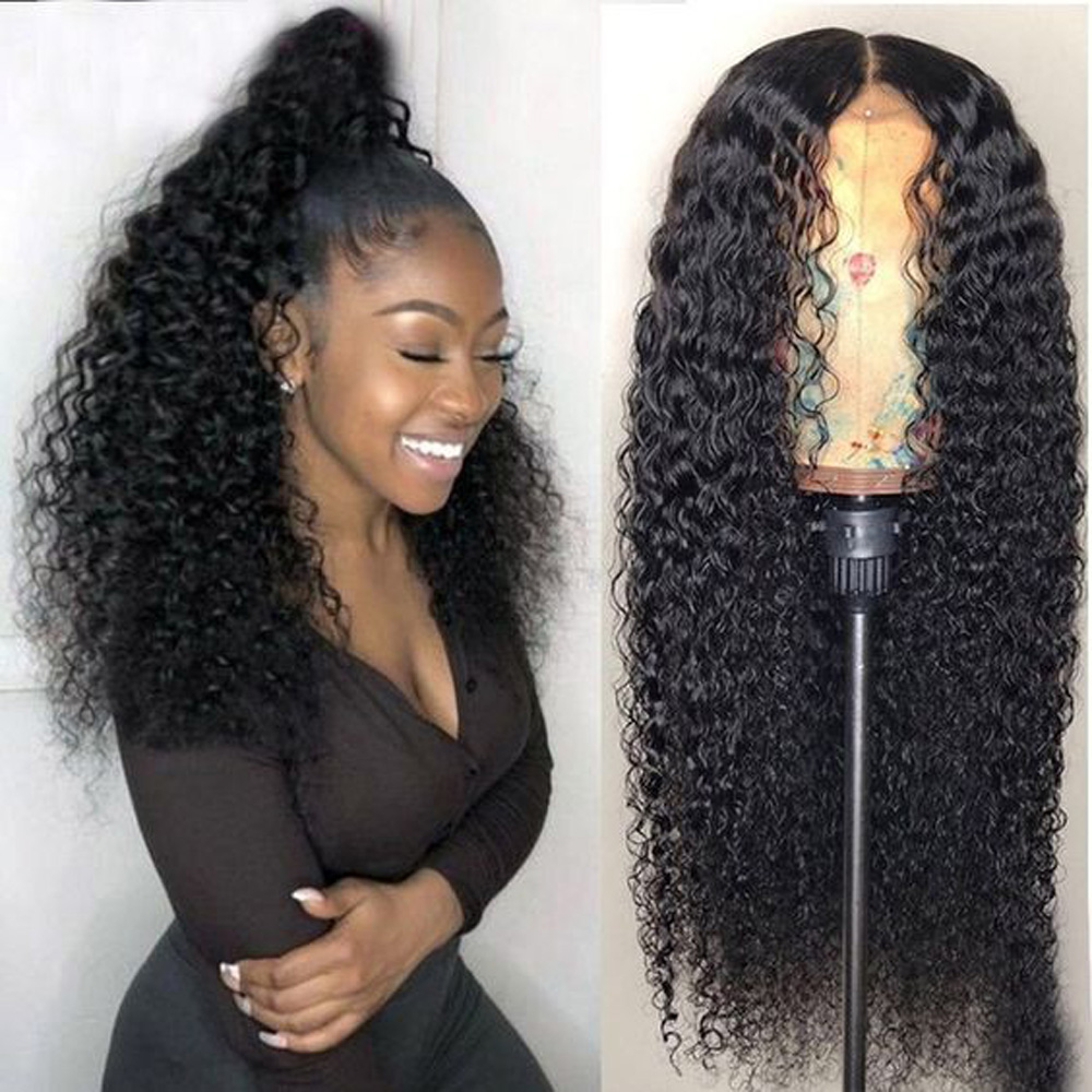 13x6 Black Long Afro Curly Lace Front Human Hair Wig Preplucked For Black Women Glueless Transparent Indian Wig With Baby Hair