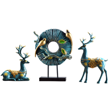 European creative home deer ornaments crafts living room porch TV cabinet wine cabinet decorations new chinese zen ceramic pure copper ornaments living room tv cabinet entrance crafts home model room soft decorations